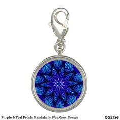 Purple & Teal Petals Mandala Charm Photo Charms, Purple Teal, Memorable Gifts, Colorful Backgrounds, How To Memorize Things, Mandala, Perfume, Charmed, Silver