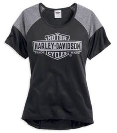 Harley-Davidson® Shirt, Women's Raglan Sleeve Performance Tee, Black.