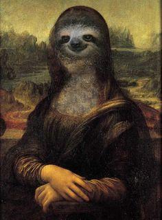 Three toed sloth Mona Lisa