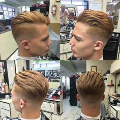 Nice Cool Short Brushed Back Hairstyle for Boys 2015