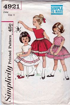 """Simplicity 4921; ca. 1963; Child's One-Piece Dress, """"Simple to Make"""", Size 4 - New Vintage Studio"""