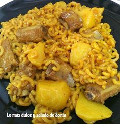 Casserole noodles with pork rib {GMG pot} Spanish Food, Pork Ribs, Paella, Risotto, Macaroni And Cheese, Noodles, Casserole, Menu, Chicken