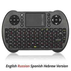 23825af9678 Mini USB Wireless Russian Spanish Hebrew Version Keyboard Touchpad Air Fly Mouse  Remote Control for Android Windows TV Box