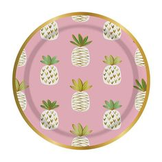 Turn your party in to a fruity summer splash with these fun pineapple paper plates. Pink and white with gold foil accents. Set includes 8 plates. Measures: 7