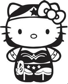 New Custom Screen Printed T-shirt Kitty Wonderwoman Small - 4XL