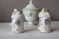 Petits pots de verre,très Shabby chic pour salle de bain, cuisine ou autre. : Vaisselle, verres par souvenir-d-eugenia