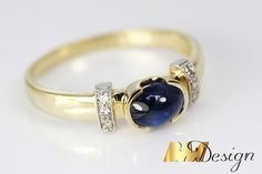 Pierścionek z szafirem i diamentami Rzeszów biżuteria na zamówienie autorska biżuteria hand made custommade saphire diamonds ring