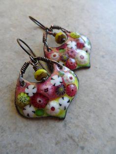 Summer Fun ... Artisan-Made Enameled Copper and Czech Glass beads, handmade earrings, flower earrings