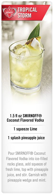 50 Tasty Smirnoff Recipes Smirnoff Tropical Storm drink recipe with Smirnoff Coconut flavored vodka, lime and pineapple juice. Bar Drinks, Non Alcoholic Drinks, Cocktail Drinks, Beverage, Vodka Cocktails, Refreshing Drinks, Summer Drinks, Simple Vodka Drinks, Coconut Vodka Drinks
