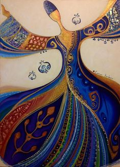 Paintings of whirling dervishes by the Turkish artist, Canan Berber Islamic Calligraphy, Calligraphy Art, Art Arabe, Whirling Dervish, Bagdad, Turkish Art, Arabic Art, Blue Art, Silk Painting