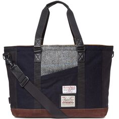 Master-Piece - Navy Harris Tweed Slash Tote Bag...