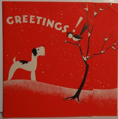 30s Art Deco Terrier Dog Bird Vintage Christmas Card 1198 | eBay
