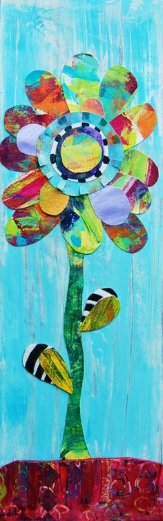 Just listed new work on Etsy! This is my Blooming KellBell mixed media collage on board. Made of painted paper and glazed acrylic..