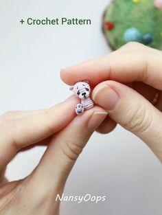 Crochet pattern micro bear amigurumi pdf tutotial amigurumi teddy pattern by NansyOops Crochet Bear Patterns, Crochet Animals, Amigurumi Patterns, Doily Patterns, Crochet Crafts, Crochet Dolls, Crochet Projects, Thread Crochet, Confection Au Crochet