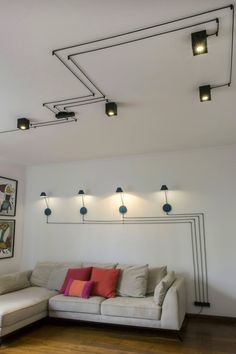 home decor kitchen High Ceiling Lighting, Ceiling Decor, Cool Lighting, Lighting Design, Hanging Ceiling Lights, Apartment Lighting, Apartment Interior, Home Living Room, Living Room Designs