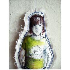 art doll ornament christmas fabric textile soft girl original drawing... (€32) via Polyvore featuring home, home decor, doll figurines, christmas figure, christmas figurines, xmas figurines e handmade home decor