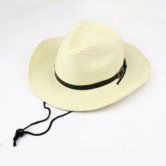 2804488852b2f6 Unisex Straw Floppy Wide Brim Sun Hat Cowboy Cap Fedora Beach Belt Panama  Hats With String