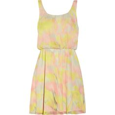 Alice + Olivia Louise printed chiffon dress ($205) ❤ liked on Polyvore featuring dresses, vestidos, robes, alice + olivia, pastel yellow, yellow chiffon dress, multi color dress, elastic waist dress, chiffon dress and colorful dresses