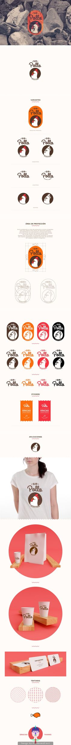SIR POLLO by AARON MARTINEZ, via Behance has a cute logo on the packaging PD / logo / identity / fun / bright orange and red / illustration / chicken / animal 2 Logo, Typography Logo, Logo Branding, Typography Design, Lettering, Corporate Design, Brand Identity Design, Graphic Design Branding, Stationery Design