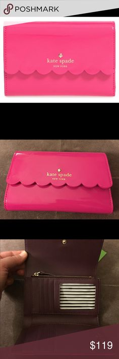 Kate Spade New York Lily Ave Kieran Leather Wallet Scalloped edging on the flap and a glossy patent shine add urban sophistication to a single-fold leather wallet that features so many card slots and pockets, you'll be fashionably organized in a New York minute. Color radish/ mahogany. Brand: KATE SPADE NEW YORK. Style Name: Kate Spade New York 'Lily Avenue - Kieran' Leather Wallet. Style Number: 5212653. kate spade Bags Wallets
