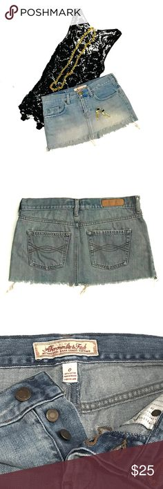 ❗️CLOSET CLEAR OUT❗️ABERCROMBIE & FITCH Jean Skirt Distressed cut off jean skirt by ABERCROMBIE & FITCH Authentic East Coat Vintage • size 0; runs big. Fits a size small • excellent condition • roomie pockets • pair with a tank and flats and go! ♥️20% off bundles of 2+♥️ Abercrombie & Fitch Skirts Mini
