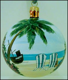 beach themed christmas trees | Beach Chairs Christmas Tree Ornament
