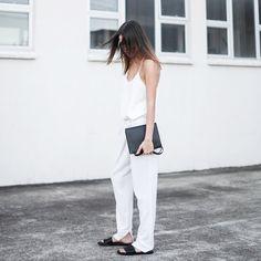 White cami + black slip-on sandals