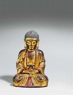 Lot : Buddha Amitabha. Bronze mit Lackfassung. China. Ming-Zeit  - Im[...]   Dans la vente Art d'Asie à Kunsthaus Lempertz