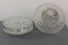 Pair Flush Mounts Crystal Glass Bubbles Lamp Staff Sconce 70's Mid Century