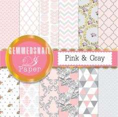 Pink and gray digital paper, pink and silver backgrounds in faded pink and soft grey florals and patterns