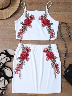 Floral Embroidered Zippered Top With Skirt WHITE: Two-Piece Outfits | ZAFUL