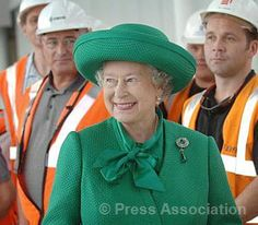 The Queen meets construction workers at the Channel Tunnel Rail Link in Stratford, east London