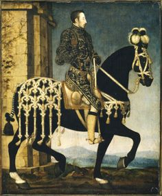 King Henri II, King of France (1519–1559) on Horseback by artist François Clouet (Tours c.1516 – Paris 1572) and Studio -  Date	1530 - 1599 Materials	Oil on panel (oak) Measurements	270 x 222 mm (10 5/8 x 8 3/4 in) Collection	Upton House, Warwickshire