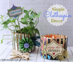 Make a simple DIY planter or candle holder by Mod Podging  paper onto Clothespins and clip on tuna fish can.