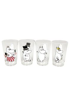 Served in these Moomin tumblers, juice or milk becomes a special treat! Acrylic makes them affordable and easy to care for - no broken glass to worry about. Set of 4 acrylic tumblers. Acrylic Tumblers, Pint Glass, Tableware, Kitchen, Products, Egg, Cooking, Dinnerware, Dishes
