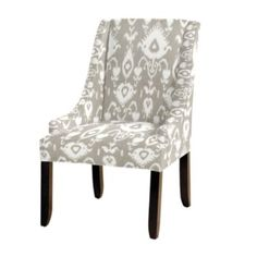 Ballard Design Gramercy Upholstered Chair in Malabar Gray Ikat