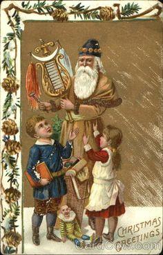 Santa in brown robe, instrument , bag of toys, two children Series 30 B Christmas Greetings
