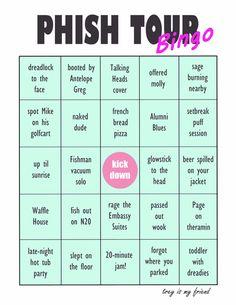 Phish Tour Bingo Card  via Trey is my Friend