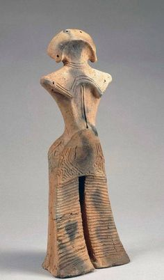 Ceramic figurine created by the Jomon people of ancient Japan, 14,000 - 300 B.C.   Figurines like this are called 土偶 (dogu).