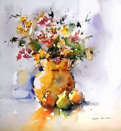 ANDREU AGUILAR Wisteria, Watercolor Flowers, Still Life, Painting, Watercolors, Art, Paintings, Art Background, Water Colors