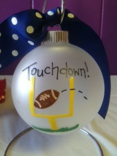 Hand Painted Football Ornament by MommyandMekidzdecor on Etsy, $10.00