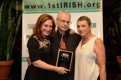 Origin's 1st Irish Awards on Sept. 29, 2014. Seamus Scanlon's THE MCGOWAN TRILOGY scores 3 wins. Photo: James Higgins ©2014 — with Kira Simring (Director), Seamus Scanlon (Playwright) and Nancy Manocherian (Director, Cell Theater). http://mcgowan.bpt.me/