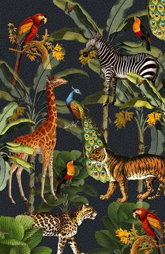 Kunstwerk: 'Jungle met tijger en tropische planten, zebra, giraffe en toekan' van Studio POPPY Botanical Illustration, Illustration Art, Jungle Art, Flower Wallpaper, Wallpaper Jungle, Cute Wallpapers, Aesthetic Wallpapers, Amazing Art, Wall Art