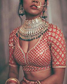 48 New Ideas For Indian Bridal Nose Ring Products Blouse Back Neck Designs, Bridal Blouse Designs, Sabyasachi, Lehenga Choli, Anarkali, Bridal Lehenga, Lehenga Blouse, Silk Sarees, Pakistani Bridal Jewelry