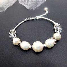 Wedding bracelet, bridal bracelet, pearl bracelet, wedding jewelry, sterling silver bracelet with Swarovski ivory pearls, golden shadow