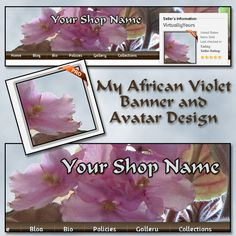 My African Violet Banner and Avatar Design | VirtuallyYours - Graphics on ArtFire