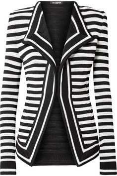 Balmain Black and white stretch-knit Concealed hook fastenings through front 95% viscose, 5% polyester Specialist clean Made in France