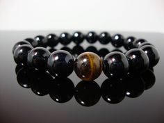 Crystal Charm Collection, Mens Tiger Eye Bracelet, Mens Beaded Bracelet, Tiger Eye Jewellery,  Bracelet for Men, Handmade Braceclet by Prettilycharmed on Etsy