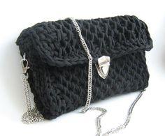 Black bag Black clutch bag Crochet bag Small by LabofCrochetThings