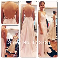 Sexy Backless Maxi Dress Spaghetti Straps V Neck Pink Open Back Prom Dress 2014 Chiffon Evening Dresses long